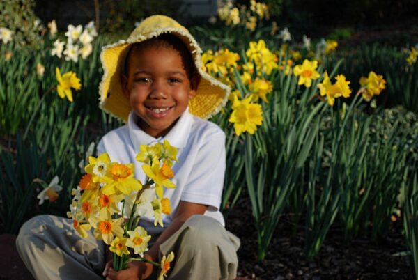 Javon with daffodils